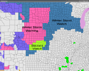 Advisories as of Noon 12/22/09